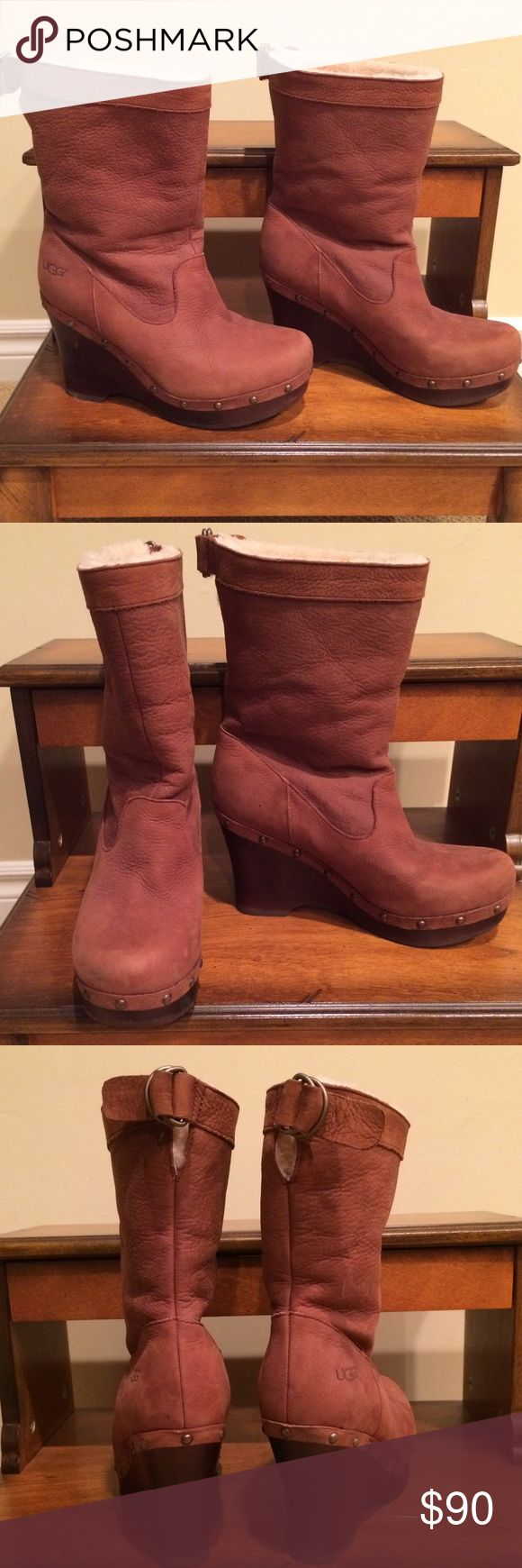 Size 8 Ugg boots. Worn twice. Almost new. Size 8 Ugg boots. Worn twice. Almost new and in excellent condition. Camel color. Platt Form style. Front heel 1 inch. Heels, 4 inches. No box. I tossed it after I bought them from the Ugg store at the Fashion Valley Mall in San Diego. UGG Shoes Ankle Boots & Booties