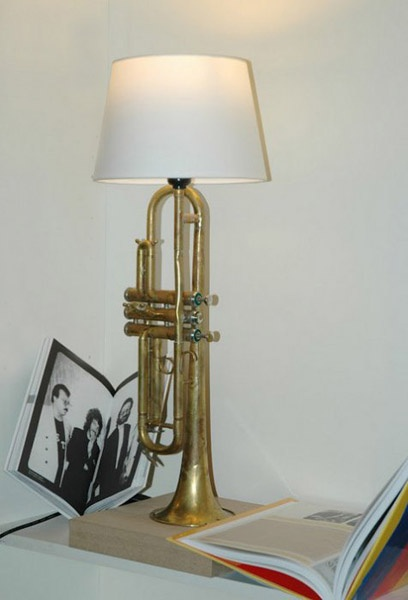 Recycling used brass musical instruments for unique lighting music lights by mitya hashak iwoud have definitely done some vintage music sheets or something