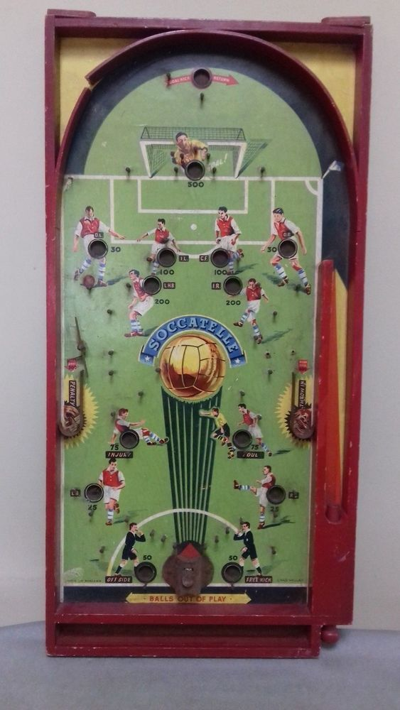 "VINTAGE 1950'S Chad Valley "" Soccatelle"" Bagatelle Pinball game  #CHADVALLEY"