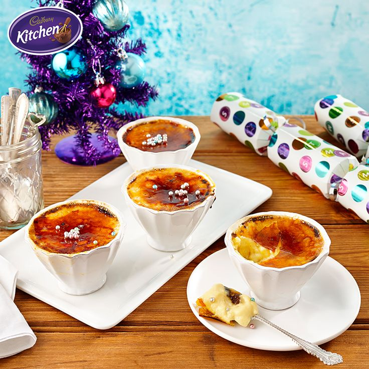 Crème Brûlée always makes for a cracking good time! Made with a festive twist, these Chocolate Fruit Mince Crème Brûlées are sure to wow all your guests this Christmas.  #desserts #baking #chocolate #CADBURY #cremebrulee #recipes #christmasrecipes