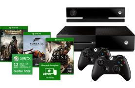 The Xbox One Ultimate Bundle includes an Xbox One console, Xbox Live 12-month Gold Membership, Xbox One Complete, and your choice of three Xbox One games.