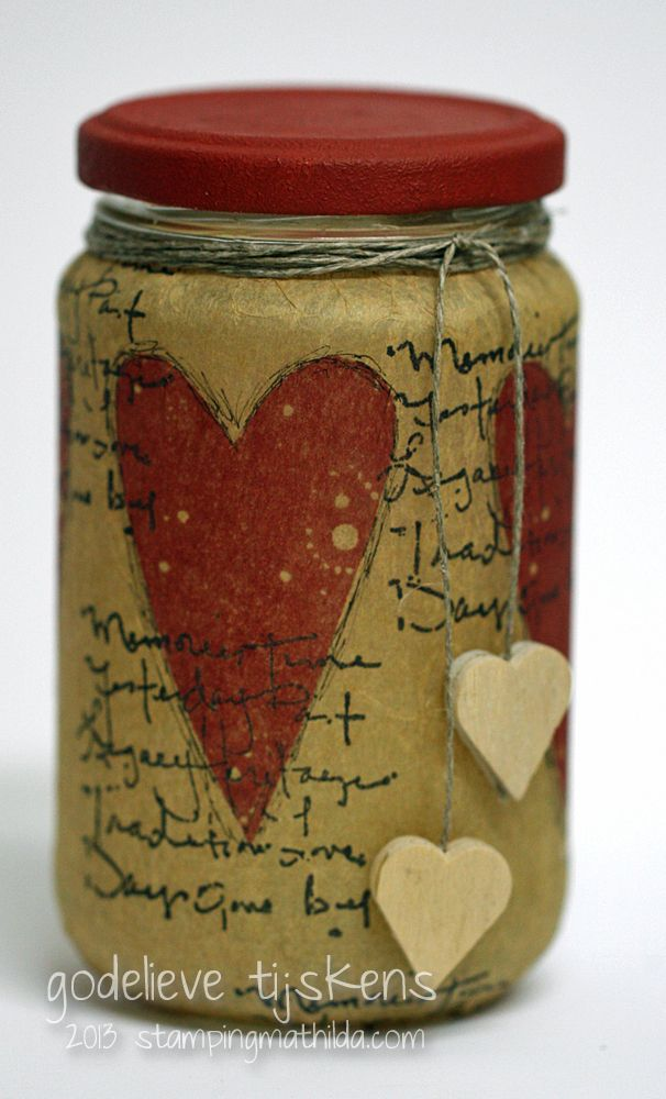 Tissue paper,stamps & mason jar... Personalize with your own saying for a candle.....Also could baby food jars or any other type of jar.