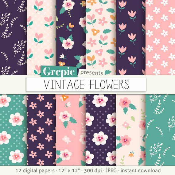 "Floral digital paper: ""Vintage flowers"" flower digital clip art papers in purple, pink, hand drawn, patterns, download, floral background #etsy #grepic"