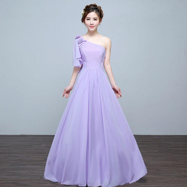 Lavande couleur demoiselle d'honneur longue dames de femmes sans manches formelle en mousseline de soie femmes robe de soirée une épaule livraison gratuite S3568(China (Mainland))