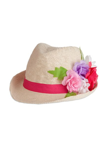 Pumpkin Patch - accessories - tropical flower fedora - S4AX10030 - blushing bride - small to large