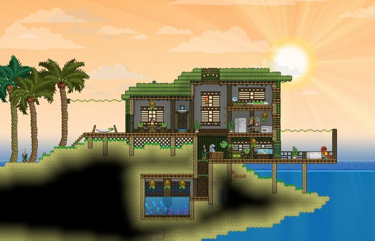 Starbound--beach house