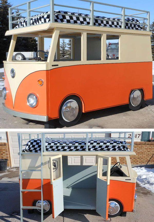 Cutest Bed Ever!!! - Volkswagen van bed made from an ikea bunk bed