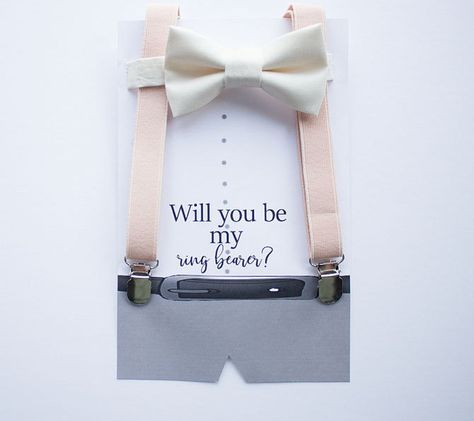 A cute way to propose to pop the question to your ring bearer. Customize your card color to match your wedding theme.   Ring Bearer Proposal Card with Blush Suspenders Nude Bow Tie for Boys, Boys Bow Tie, Ring Bearer Suspenders, Rustic Wedding, Baby Boy Suit by LittleBoySwag on Etsy