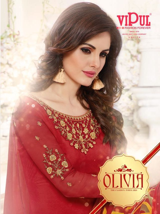 7c68ffe4d6 Olivia DCAT Vol 79 by Vipul Fashion Designer Fancy Printed Silk Crepe with  Embroidery Work Long Straight Dress Material Collection at Wholesale Rate