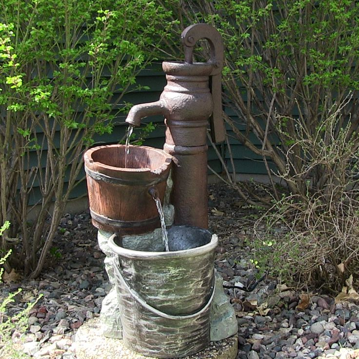 Homemade Outdoor Water Fountain Ideas | Outdoor Classics Pump with Pail Outdoor Water Fountain | Water ...