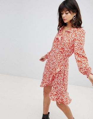 Vero Moda Printed Ruffle Wrap Dress  d15afc833