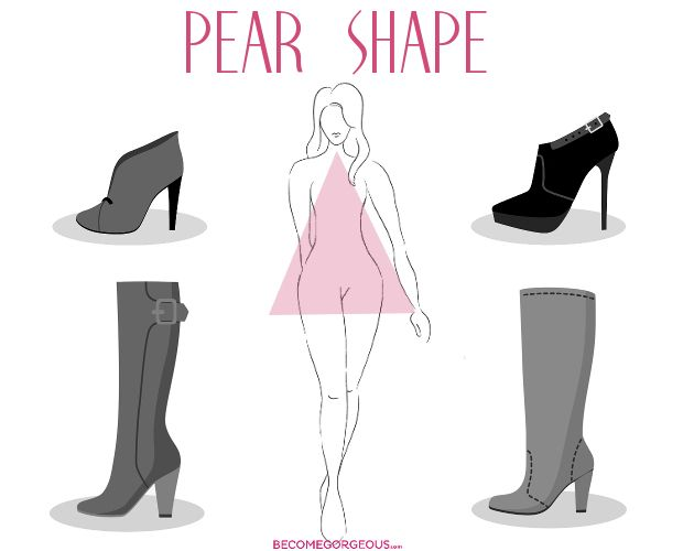 Best Boots For Pear Shape Body: f you like full-length boots, you're in luck! Shorter ones, like calf-length boots simple don't work in your favor. Choose boots that hit below the knee since they'll make your legs look longer. For a slimming effect, go for a boot in a single color and pair it with a dress or skirt in the same shade. Don't be afraid to highlight your ankles with a slimmer boot in the ankle area. Pull-ons are best and stacked heels are also a good idea.