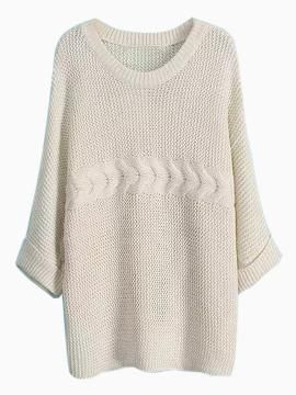 Shop Beige Loose Round Neck Knit Sweater from persunmall.com .Free shipping Worldwide.