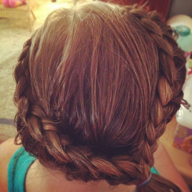French braid only adding hair from the outside.