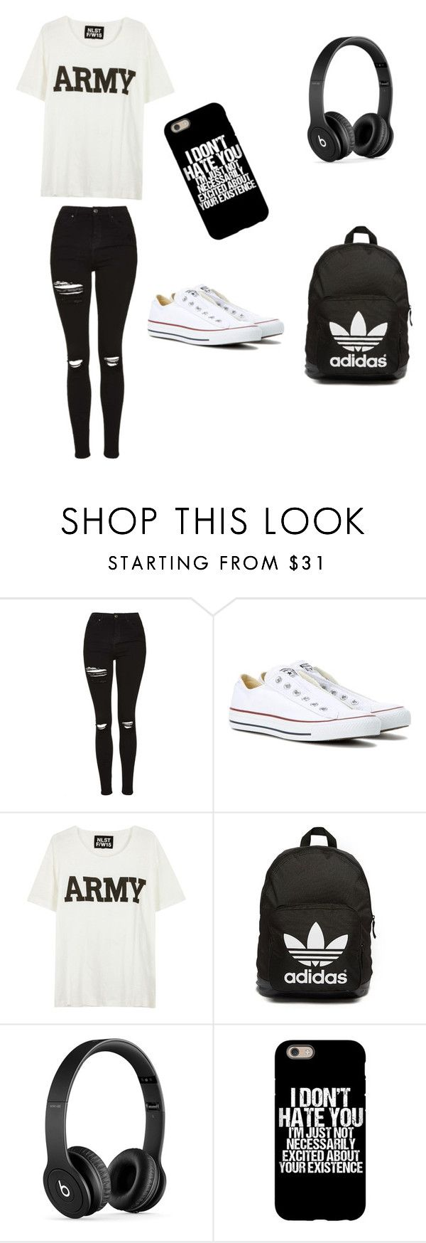 """Black n white"" by cllong32602 ❤ liked on Polyvore featuring Topshop, Converse, NLST, adidas Originals and Beats by Dr. Dre"