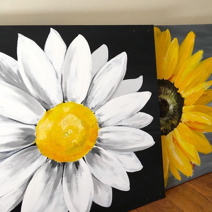 Sunflower Paintings, Daisy Paintings, Flower Paintings Wood Panel Art