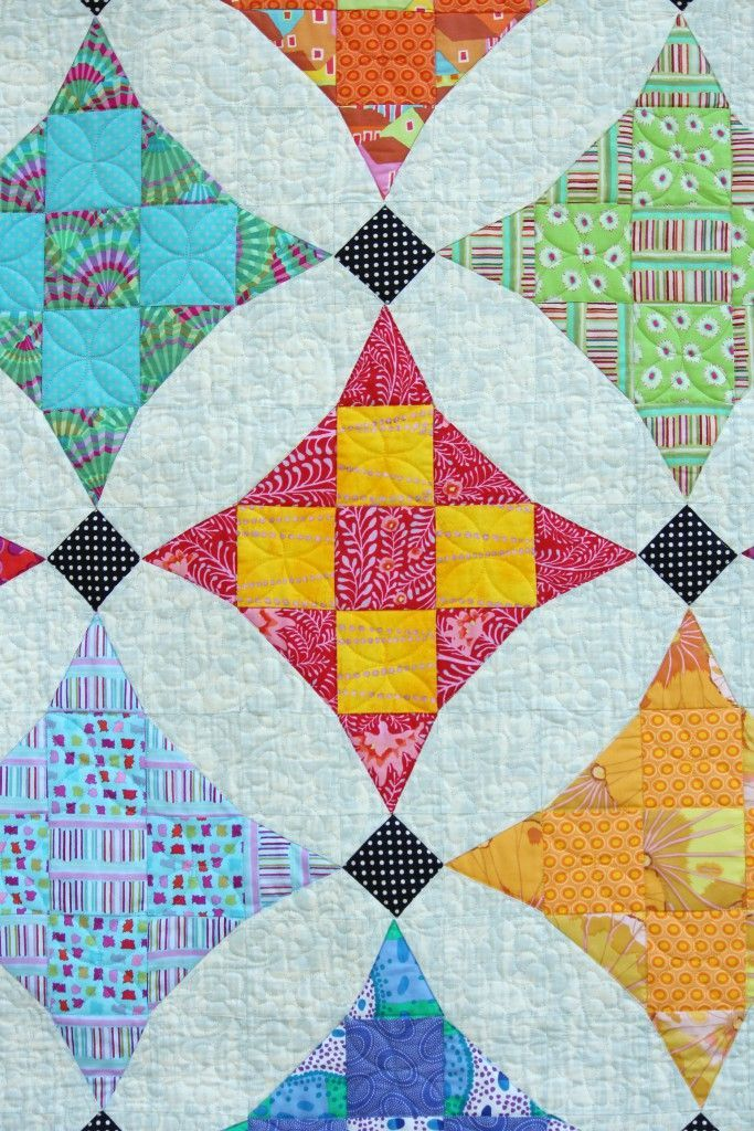 colorful nine patch quilt by Die PatchwerkStatt (Germany)