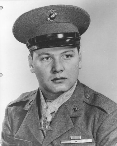 Corporal Duane E. Dewey, US Marine Corps Medal of Honor recipient near Panmunjom, Korea April 16, 1952.
