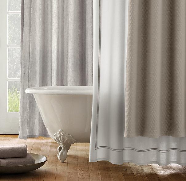 master bath shower curtain with border stripeSatin Stitches, Restoration Hardware, Bathroom Inspiration, Bath Shower, Italian Hotels, Stitches Shower, Master Bath, Shower Curtains, Hotels Satin
