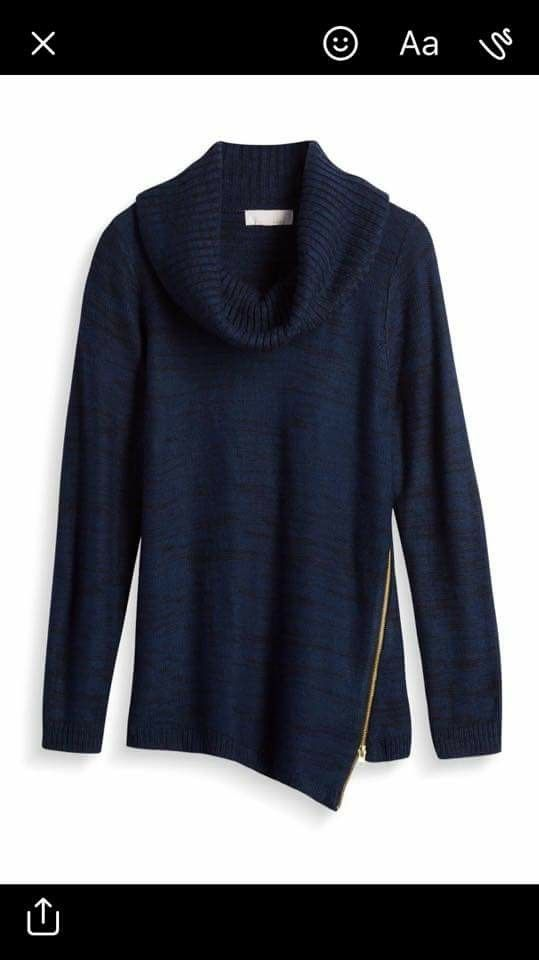The last thing I need is another blue sweater, but I love the zipper on this and the color.