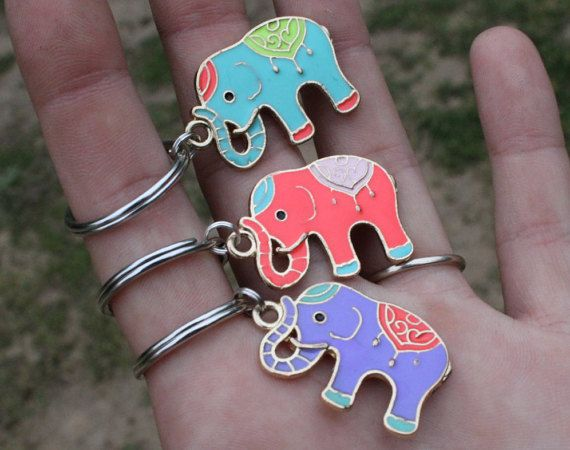 Elephant Keycahin DIFFERENT COLORS Cute Keychain by TheEarthySoul                                                                                                                                                      More