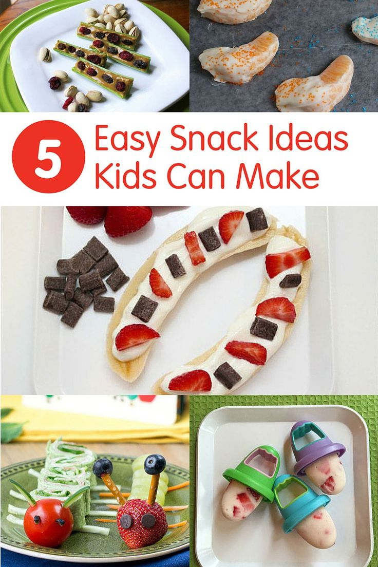 5 Easy Snack Recipes Kids Can Make - easy to assemble ideas for getting your toddlers in the kitchen and cooking! /produceforkids/