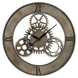 """Wall clock with a gears silhouette.   Product: Wall clockConstruction Material: MetalColor: Silver and antique champagneAccommodates: Batteries - not included          Dimensions: 30"""" Diameter"""