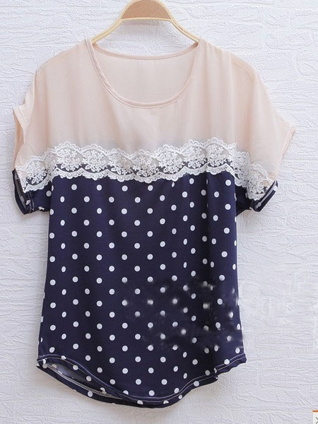 Navy Short Sleeve Floral Lace Polka Dot Blouse