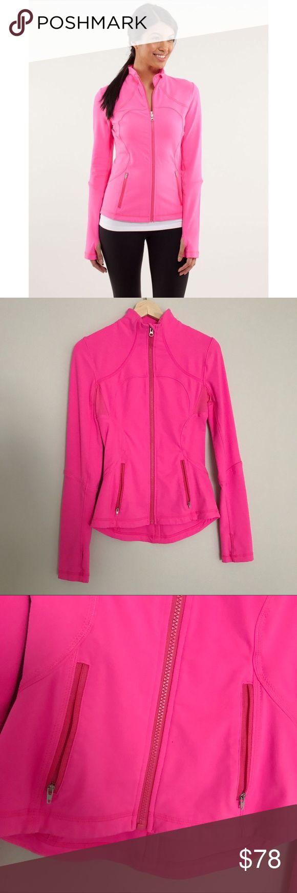 LULULEMON | RARE PINK Forme Jacket LULULEMON | RARE PINK Forme Jacket • Super cute, slim fit zip up jacket. RARE COLOR, neon pink. Fits close to your body with stretch. Front pockets and thumbholes. Mesh venting in the armpits helps you let off steam. Dropped hem for more coverage in the rear. Used condition & great quality! Size 4. Model picture to show style.   Offers are welcome! Please use offer button. Bundle & save 10%! 🌝 lululemon athletica Jackets & Coats