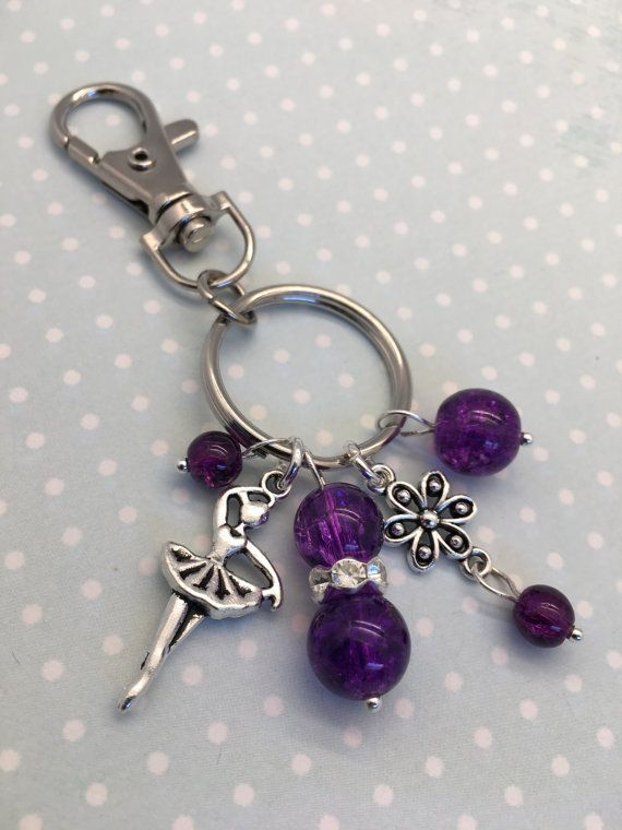 Ballerina Bag Charm This Is A Girls Ballet Themed Keyring A Perfect Ballet Fan Gift It Is Available In A Choice O Purse Charms Beaded Jewelry Handbag Charms