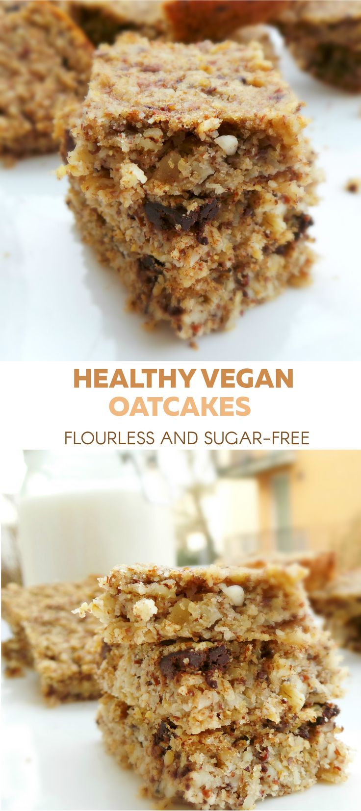 Healthy vegan sugar-free and flourless oatcakes. Delicious healthy breakfast, that's also good for your skin. Use gluten-free oats to make it also gluten-free.