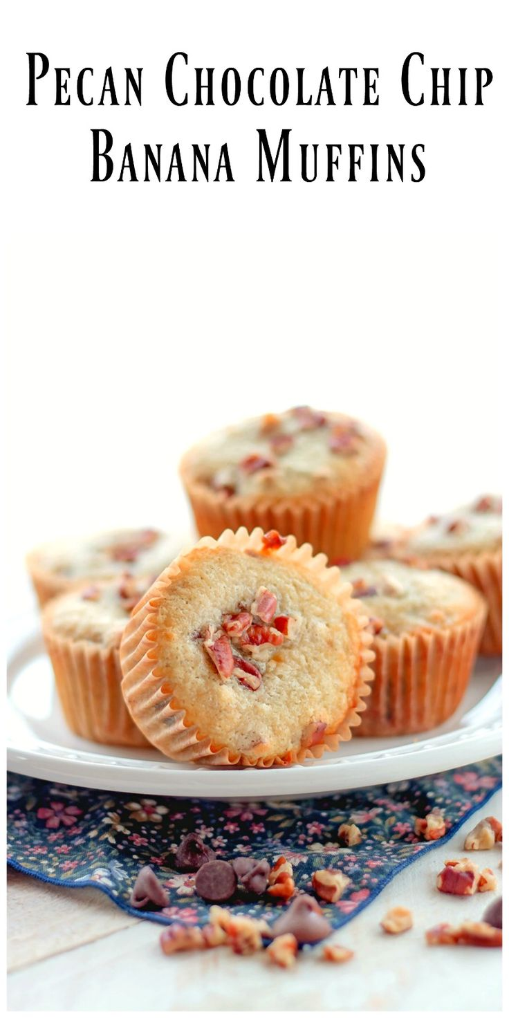 Pecan Chocolate Chip Banana Muffins - Tender, moist banana muffins studded with milk chocolate chips and pecans. What an absolute treat these muffins are. via @https://www.pinterest.com/BunnysWarmOven/bunnys-warm-oven/