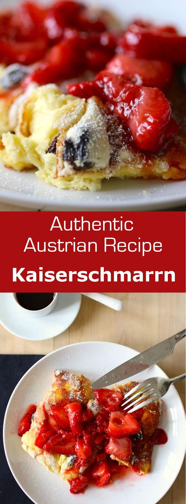 Kaiserschmarrn is a very light and airy Austrian pancake prepared with a sweet dough made with eggs, flour and sugar and cooked in butter. #breakfast #brunch #austria