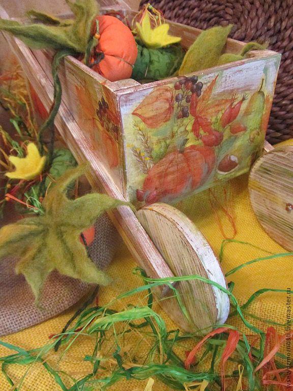 """Купить Тачка садовая с тыквами """"Богатый урожай"""" - Тачка, тачка садовая, тыква, урожай, осень"""