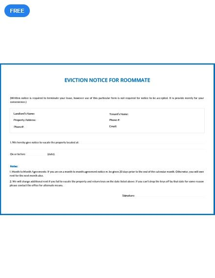 free eviction notice for roommate notice templates designs 2019