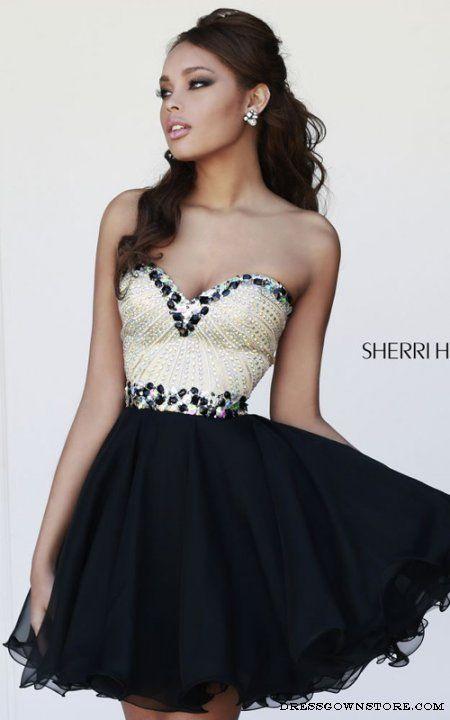 Black Sherri Hill 1929 Short Prom Fitted Bodice Dress