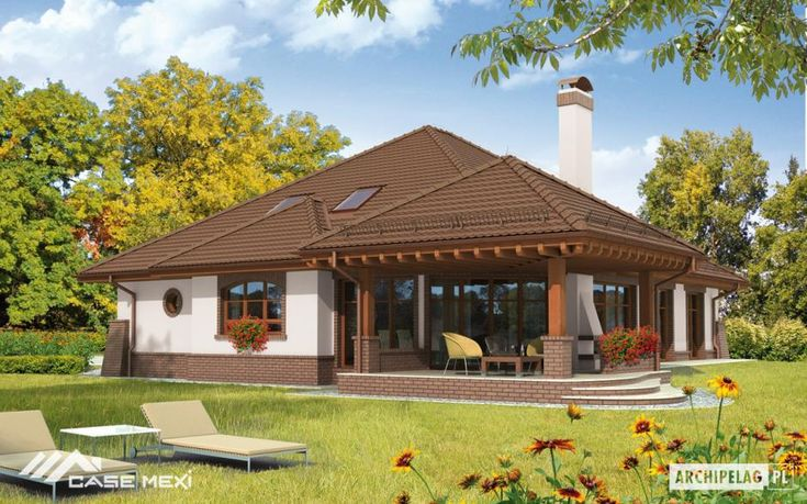 The one-storey house with functional attic, without basement, with 2cars garage, intended for 5-6-person family.