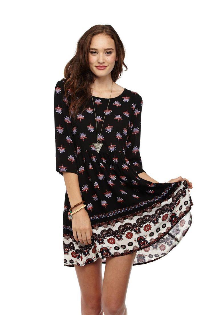 daria 3/4 slv smock dress