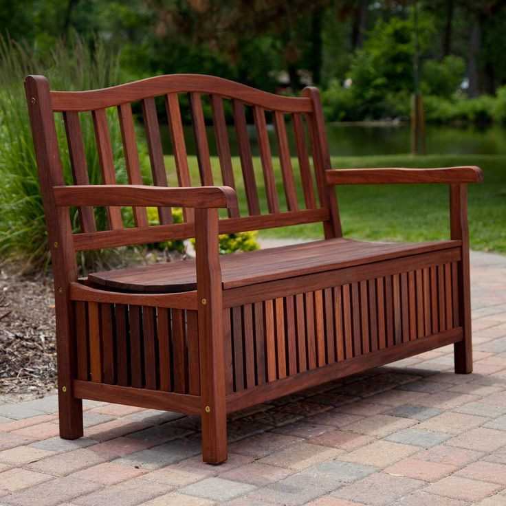 Curved Back Outdoor Wood 30 Gallon Storage Bench