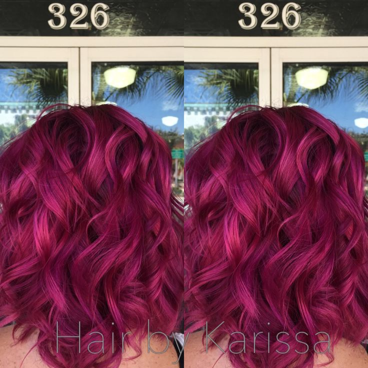 Mermaid hair! Pink hair, magenta hair, Kenra color, Kenra creatives, anything but ordinary, funky hair, curly hair, curls, short hair, lob,  Hair by Karissajoy, Titusville, Florida