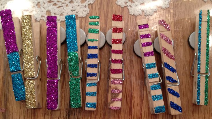 Kids Party Craft: Glittered Clothespin Magnets