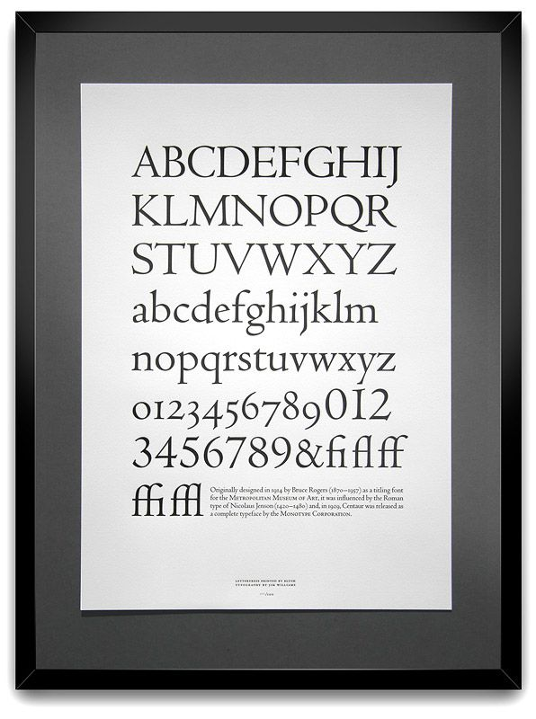Centaur font poster by Jim Williams #typography