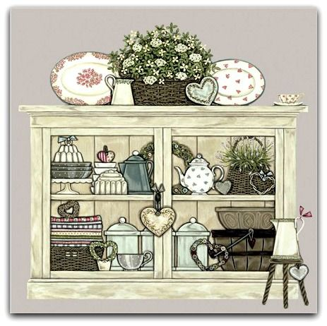 Vintage Cupboard Greetings Card - Sally Swannell