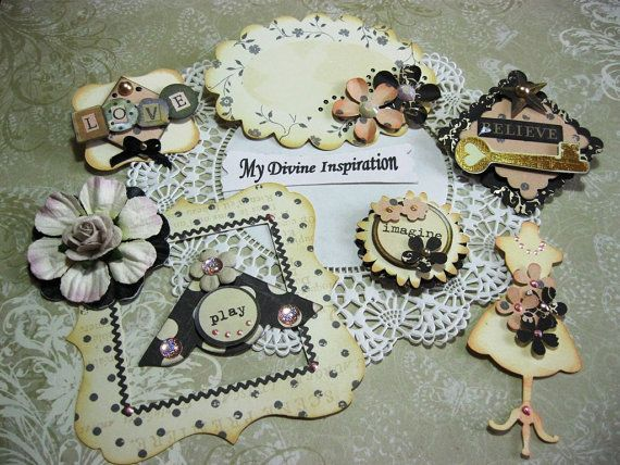 Vintage Black and Ivory Paper Embellishments and Paper Flowers for Scrapbooking Cards Mini Albums and Papercrafts