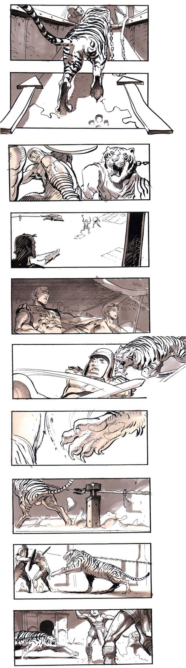 gladiator-storyboard-by-Sylvain-Despretz-Objects go out of the picture plane - Contrast of viewpoint, color, and detail. Use of asymmetrical balance for dynamic quality.