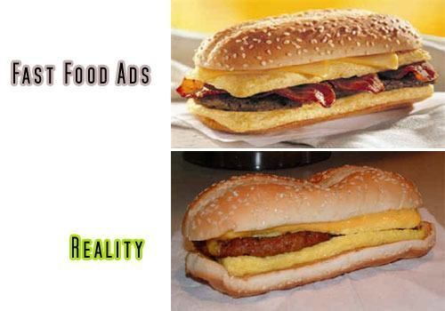 It kind of looks the same…except the bun is smashed! Fast Food Advertising Versus Reality • Page 5 of 6 • BoredBug