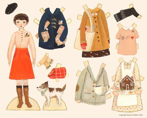 Wintery Paper Doll Download : Dot & Roscoe