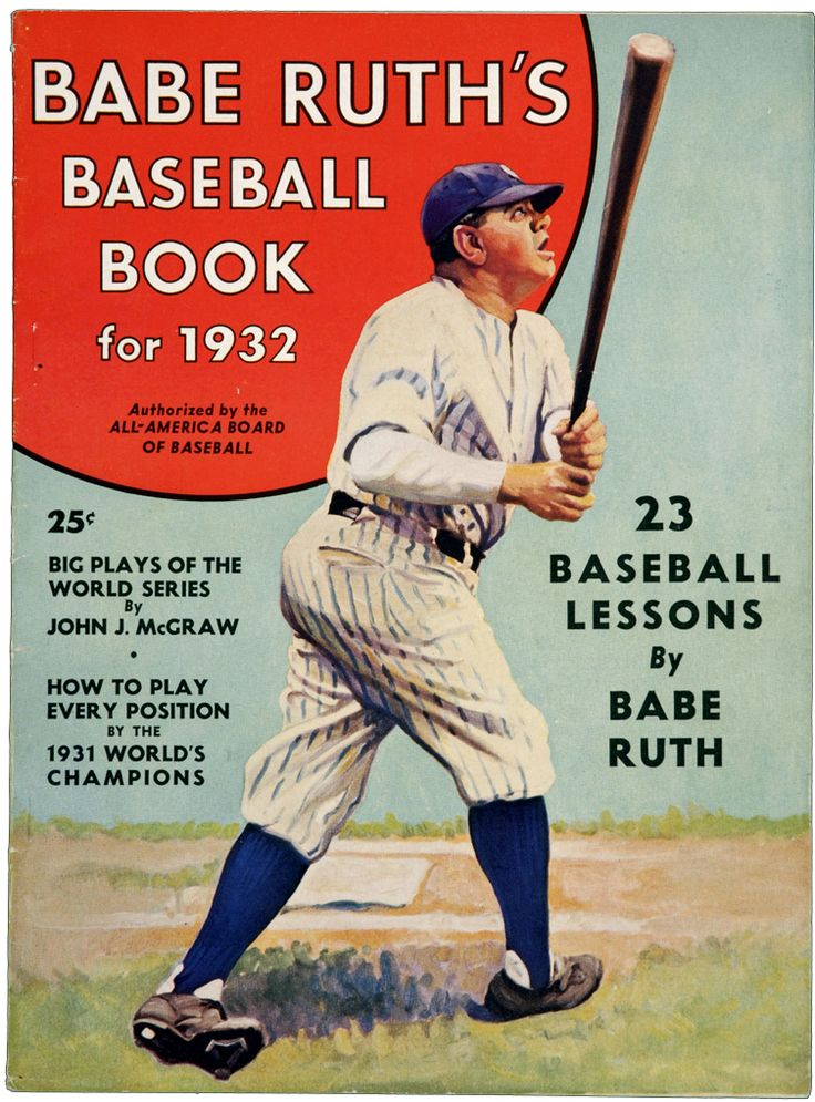 Babe Ruth's Baseball Book cover illustration 1932 Sports