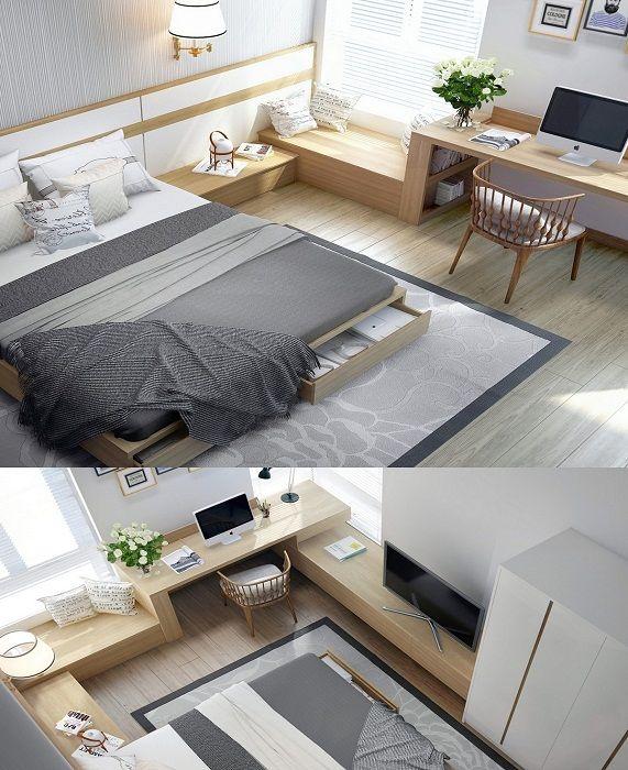 Комната для сна оформлена в современных тенденциях с применением деревянных текстур.