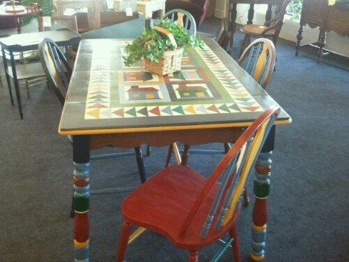 Hand Painted Kitchen Table With 4 Chairs